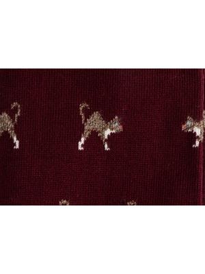 Chaussettes bordeaux à motifs de chats