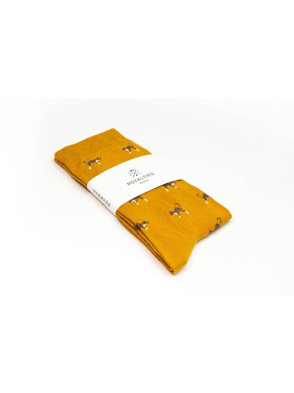 Chaussettes ocres à motifs de chats