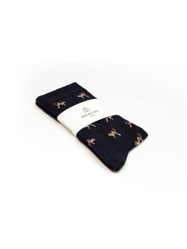 Chaussettes marine à motifs de chats