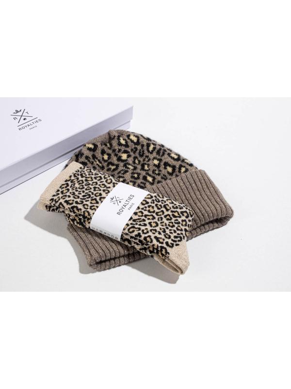 Coffret duo bonnet/chaussette léopard pour elle