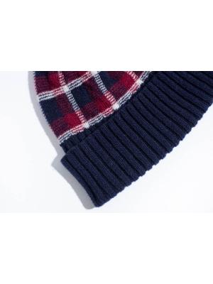 Coffret duo bonnet tartan marine et chaussettes ivoire à motifs de coeur pour elle