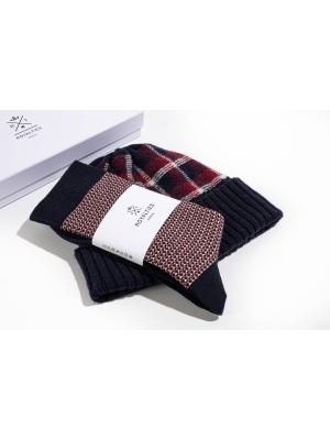 """Coffret duo bonnet tartan marine et chaussettes à jacquard """"tweed"""" marine"""