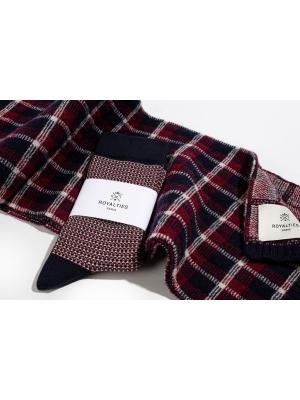 """Coffret duo écharpe tartan marine et chaussettes à jacquard """"tweed"""" marine"""