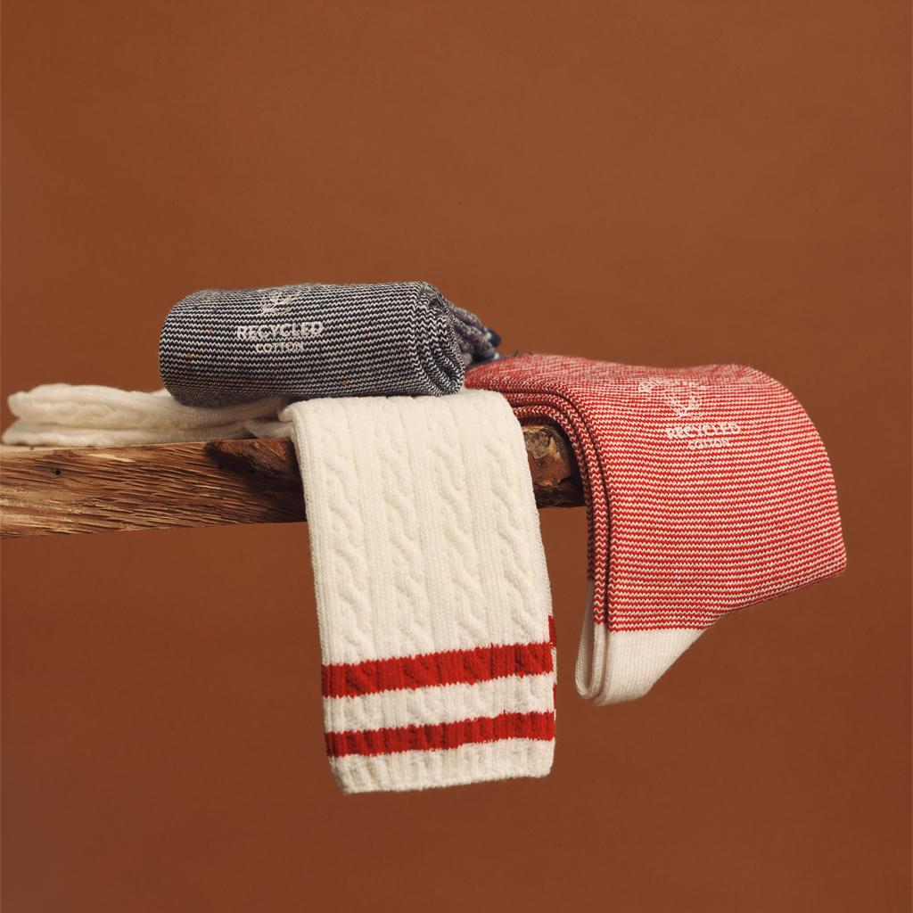 chaussettes rayées et torsades coton recycle